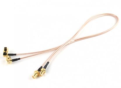 Obrázek RP-SMA Plug w/90 Degree Adapter < - > RP-SMA Jack 500mm RG316 Extension (2pcs/set)