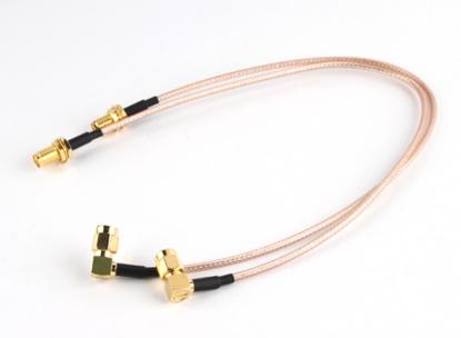 Obrázek RP-SMA Plug with 90 Degree Adapter < - > RP-SMA Jack 200mm RG316 Extension (2pcs/set)