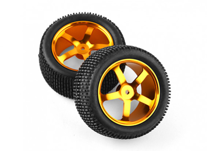 Obrázek HobbyKing 1/10 Aluminum 5-Spoke Rear (Gold) Wheel/ Small Block Tire 12mm Hex (2pcs/bag)