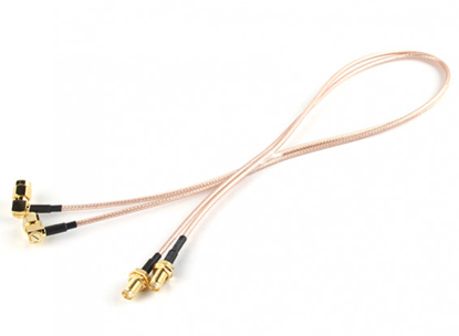 Bild von RP-SMA Plug w/90 Degree Adapter < - > RP-SMA Jack 500mm RG316 Extension (2pcs/set)