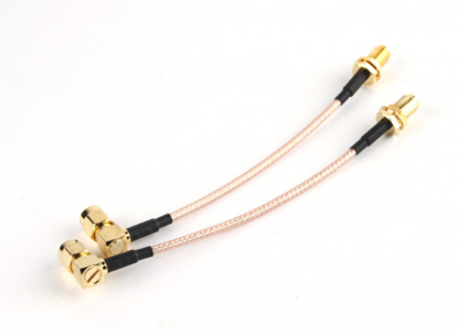 Picture of RP-SMA Plug with 90 Degree Adapter < - > RP-SMA Jack 100mm RG316 Extension (2pcs/set)