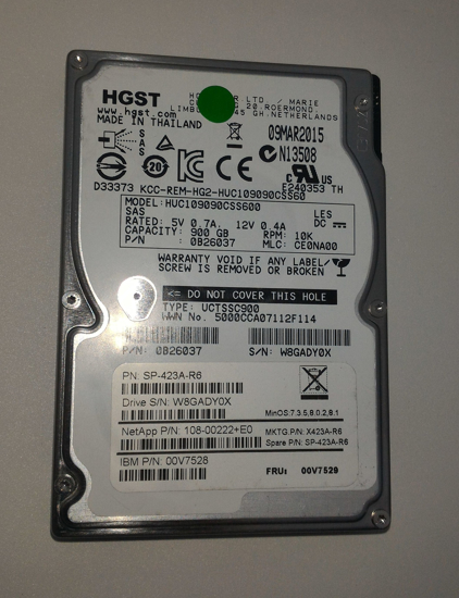 Picture of Hitachi C10K900 HUC109090CSS600 900GB 10K Serial Attached SCSI / SAS Hard Drive