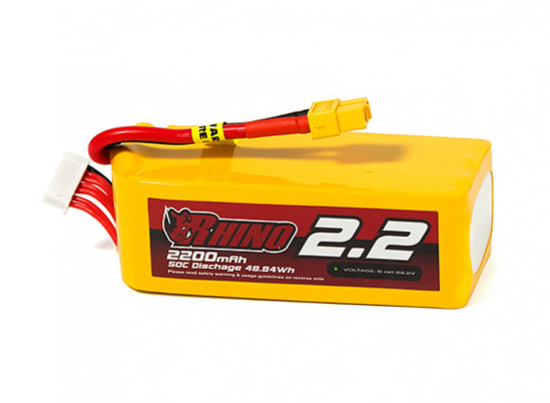 Obrázek Rhino 2200mAh 6S 50C Lipo Battery Pack w/XT60